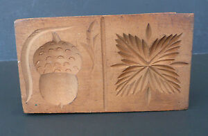 Vintage Butter Mold Stamp Press Doubleprint Carving Acorn Leaf Dovetail Box