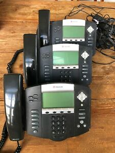 3 Polycom Ip Phones 550hd With Power Cables Lot Of 3