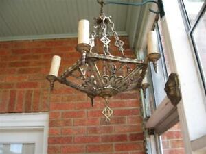Art Deco 5 Light Ceiling Fixture Working Condition Selling As Is 1920 S 1930s