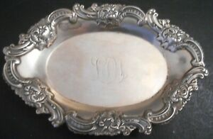Antique Tiffany Co Sterling Silver Repousse Trinket Tray
