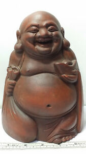 Chinese Carved Bamboo Maitreya Laughing Buddha With Bag Ingot Statue 7 7 Tall