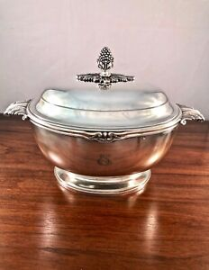 Spectacular French Tetard Freres Sterling Silver 950 Tureen Empire Style 1 276g