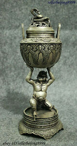 Old China Silver Buddhism Japan Buddha Statue Up Dragon Incense Burner Censer