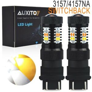 2x 3157 4157na Led Switchback Bulb White Amber Signal Parking Light Dual Color