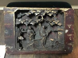 Antique 18c Chinese Buddhist Temple Wood Panel Gilt Art Destroyed Red Regime
