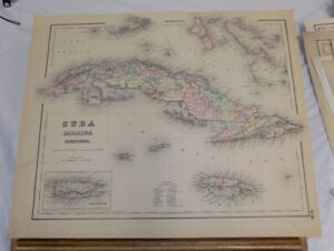 1855 Antique Colton Color Map Cuba Jamaica And Porto Rico