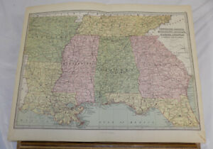 C1873 Antique Bartholomew Color Map Tn Ga Ms La Al Ar Fl United States