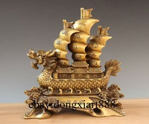 12 Chinese Brass Copper Dragon Sailing Boat Return Fully Loaded Fengshui Statue