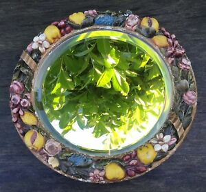 Old Vintage Barbola Design Flowers Fruit Relief Round Dressing Table Mirror