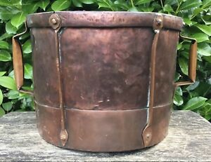 Old Antique French Handled Copper Grain Measure Drum Style Planter Pot Log Store