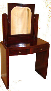 French 1930 S Rosewood Vanity With Mirror And 2 Drawers