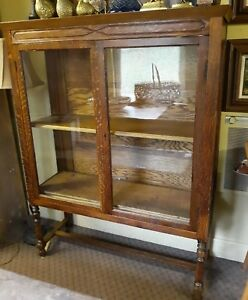 Antique Pegged Oak Display Cabinet China Country General Store
