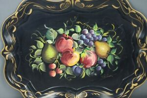 Tole Tray Fruit Hand Painted Signed Apples Pears Grapes Plumbs On Black Gold Rim