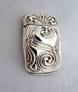 Art Nouveau 925 Sterling Silver W Gilt Interior Match Safe Vesta Case