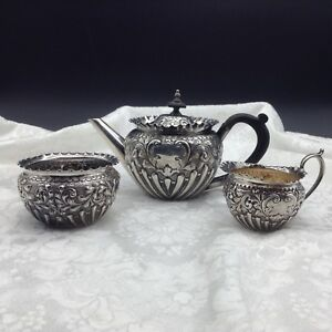 Hallmark Sterling Silver Sheffield Walker Hall Tea Set Teapot Sugar Creamer