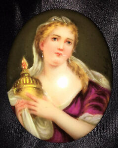 Antique Portrait Brooch Hand Painted Porcelain Plaque Cameo Pendant Enamel Vtg