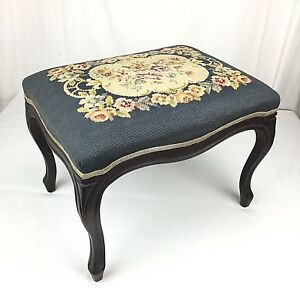 Vintage Needlepoint Stool Vanity Bench Foot Rest 1940s Cabriole Legs Dark Wood