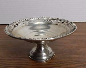 Vtg 1950 S Gruen Sterling Weighted Pierced Rim Compote Candy Dish Euc