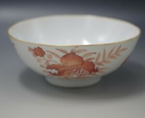 Antique Chinese Export Red Iron Porcelain 3 Abundances Bowl 5 Bats Pomegranate