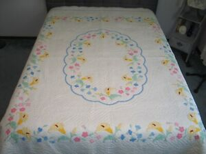 Antique Floral Applique Quilt Lily Flower Quilt Densely Hand Quilted 88 By 76