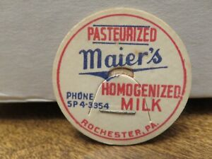 Older MAIER'S DAIRY (ROCHESTER  PA) PASTEURIZED HOMOGENIZED MILK LID