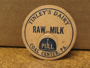 Older TINLEY'S DAIRY (COAL CENTER  PA) RAW MILK LID