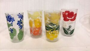 Set Of 4 Vintage Drinking Glasses Hand Painted Flowers