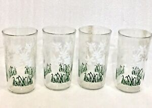 Set Of 4 Depression Drinking Glasses Daffodil Flower 5 Inch High Libbey Glass