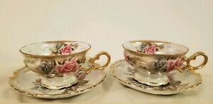 Royal Sealy China Pink Roses 2 Tea Cups 2 Lattice Saucers Opalescent Japan