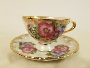 Vintage Royal Sealy China Pansies Tea Cup Lattice Saucer Opalescent Japan