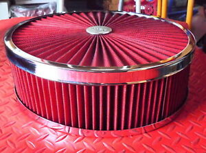 14 Super Flow Filter Top Air Cleaner Set 4 Tall Element Red And Both Washable