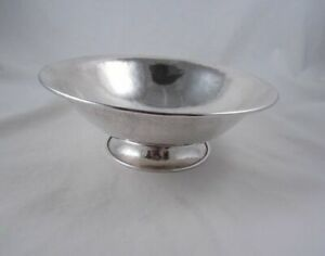 Merrill Shops Arts Crafts Sterling Silver Hammered Footed Center Bowl New York