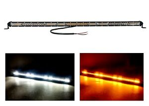 30 White Amber Slim High Output Dual Color Osram Led Mini Light Bar Offroad 12v