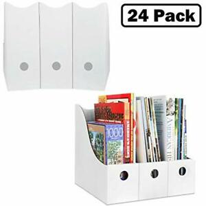 File Folder Holders Magazine Storage set Of 24 White Cardboard Vertical With