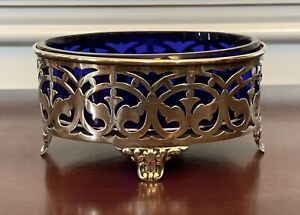Large Dominick Haff Sterling Silver Cobalt Salt Cellar Bowl Antique