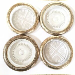 Vintage Sterling Silver Rimmed Cut Glass Coasters Lot Of 4 Mis Match Shabby Cool