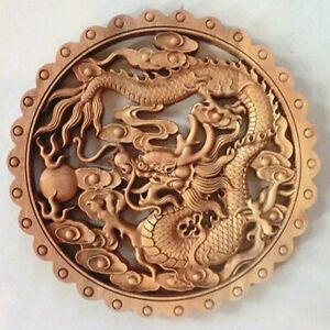 Chinese Hand Carved Dragon Statue Camphor Wood Plate Wall Sculpture