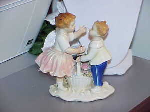 Karl Ens Volkstedt Germany Figurine Boy Girl Kiss W Basket C 1919