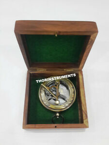 Nautical Brass Push Button Compass Collectible With Orignal Anchor Wooden Box