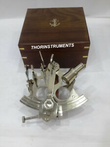 Nautical Brass Marine Navigation Working Sextant With Brown Anchor Wooden Box