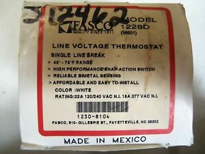 Fasco Line Voltage Thermostat 1228d new In Box