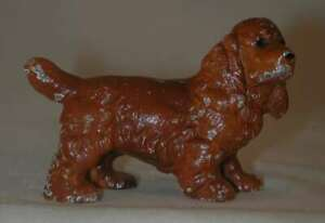 Vintage Hubley Cast Iron Paperweight Painted Miniature Cocker Spaniel Dog