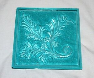 Antique Addison Acanthus Teal 5x5 Inch Glass Window Tile Victorian Eapg Rare