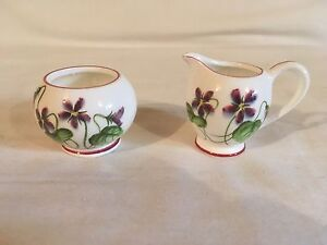 Porcelain White With Purple Flowers Pitcher And Bowl