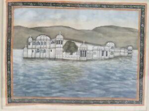 Vintage Antique Indian Miniature Painting Jal Mahal Jaipur Man Sagar Lake Silk