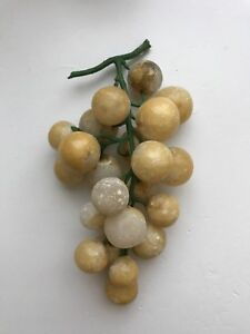 Vintage Alabaster Italian Stone White Grapes With Green Stem