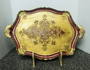 Vtg Gold Gilt Florentine Red Italian Toleware Rectangle Tray Handles Stand Large