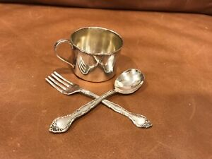 Silverplate Or Silver Child S Cup Baby Spoon Fork Set