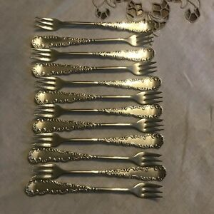 Set Of 12 Vintage Rogers Aa Seafood Forks Silver Plated