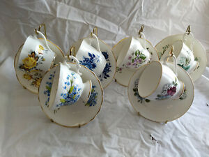 Set 6 Rosina And Elizabethan Tea Cups Saucers With Display Stands